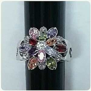 Sterling Silver Multi-Color Stone Ring ONE LEFT